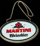 Martini Weissbier, Metall Zapfhahnschild mit Goldkette