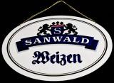 Sanwald Weizen, Hefeweizen Bier, XXL Zapfhahnschild aus Kunststoff
