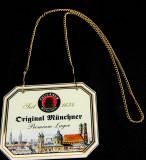 Paulaner Weissbier, Zapfhahnschild aus Glas Original Münchener Premium Lager