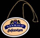 Sanwald Weizen, Hefeweizen Bier, Zapfhahnschild aus Kunststoff