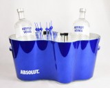 Absolut Vodka, XXL LED Flaschenkühler, Eiswürfelbehälter mit 2 x herausnehmbare LED Akku Einheiten (dimmbar), blaue Ausführung