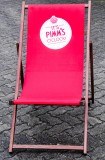 Pimm´s Gin, Liegestuhl, Strandstuhl, Strandliege aus Buchenholz, rot