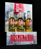 Desperados Bier, LED 3 x Flaschenleuchte, Leuchtreklame in Stahloptik
