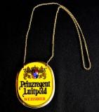 König Ludwig, Bier, Keramik Zapfhahnschild an Goldkette, Prinzregent Luitpold