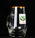 Moravia Pils, Bier Krug 0,3l Höhr Grenzhausen, Glaskrug mit Goldrand
