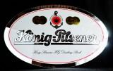 König Pilsener, Bier, Werbespiegel, oval, randlos, Kettenaufhängung, 60 x 39cm