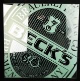 Becks Bier, Werbespiegel, randlos, satinierter Aufdruck, Quadratische Ausführung