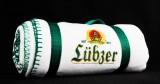 Lübzer Pils, Fleecedecke, Stranddecke, Picknickdecke, weiß mit grün