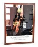 Black & White Whisky, Werbespiegel in Echtholzrahmen braun Buchanan´s