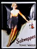 Schweppes, Blechschild, Werbeblechschild, Reklameschild, Tonic Water
