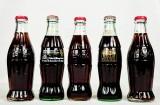 Coca Cola, 5 x Coca Cola Retro Glasflaschen, Sammelflaschen, Original Befüllt