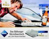 Bitburger Bier, Microfasertuch mit 2,50€ Wasch-Gutschein Aral