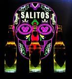 Salitos Bier 3fach LED Leuchtreklame, Flaschenleuchte Glorifier Totenkopf