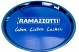 Ramazzotti Likör, Serviertablett, Rundtablett, Leben, Lieben blaue Ausführung