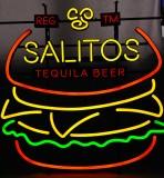 Salitos Bier, LED Neon 4 farbige Leuchtreklame, Leuchtwerbung Dimmer Burger
