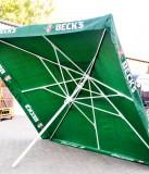 Becks Bier, 4 Meter, Gastro Sonnenschirm, grün, eckig sehr hochwertige Ausführung