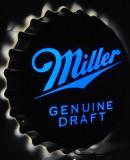 Miller Beer USA, XXL Edelstahl Leuchtreklame im Kronkorkendesign MGD