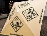 Salitos Bier, 3 Meter Gastro Sonnenschirm, beige Ausführung Gehwegplattenständer