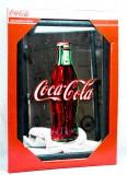 Coca Cola, Werbespiegel in Kuststoffrahmen schwarz Bottle