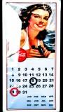 Coca Cola, Ewiger Kalender als Blechschild, Werbeschild Coke Woman braun