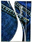 Coca Cola, A4 Format Sammelmappe mit Gummizug, Schulmappe Jeans