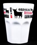 Osborne Veterano Brandy, Glas, Keramik Becher weiß, Lumumba Osborne