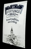 Erdinger Weißbier, Stiftungsbräu, Emaile Schild, Werbeschild, gewölbt