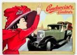 Budweiser Bier, 3D Blechschild, Werbeschild 20er Jahre Automobil