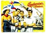 Budweiser Bier, 3D Blechschild, Werbeschild 20er Jahre Segelsport