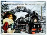 Sternquell Pilsener, 3D Blechschild, Werbeschild Weihnachtsbier Eisenbahn