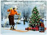 Sternquell Pilsener, 3D Blechschild, Werbeschild Weihnachtsbier Ski