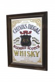 Chivas Regal Whisky, Werbespiegel in Echtholzrahmen braun Blended