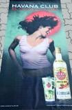 Havana Club Rum, Werbebanner an Holzstange, Seidenstoff