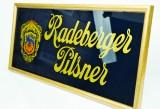 Radeberger Pilsener, Werbeschild 50er 60er DDR in messingfarbener Rahmen, RAR!!