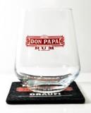 Don Papa Rum, Rum Tumbler, Rum Glas, konisch mit Filzuntersetzer