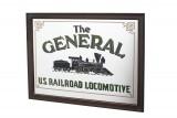 The General, Werbespiegel U.S. Railroad in Echtholzrahmen, dunkelbraun