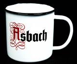 Asbach Uralt Weinbrand, Emaile Metall Becher, Kaffeebecher, Tasse The big Buck
