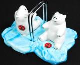 Coca Cola, Salz- und Pfefferstreuer, Polarbären auf Eisscholle, Keramik, sehr rar!