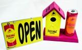 Paloma Lemonade, Trinkgeldhaus, Vogelhaus mit Blech Werbeschild Open