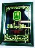 Bitburger Bier, Werbespiegel im grünen Echtholzrahmen Bitburger Pils