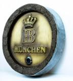 Hofbräu Bier München, Werbeschild, Fassboden Schild aus Kunststoff, Holzoptik