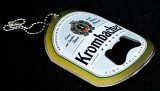 Krombacher Bier, Flaschenöffner, Kapselheber aus Metall Etikett