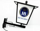 Hofbräu Bier München, Trapez Außen Leuchtreklame, Leuchtwerbung, Laterne, Wand