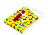 M&M, Schreibblock, Notizblock, Ringbindung und Mini-Kugelschreiber (ausfahrbar)