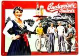 Budweiser Bier, 3D Blechschild, Werbeschild Fahrradfahren