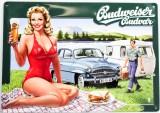 Budweiser Bier, 3D Blechschild, Werbeschild Auto Frau