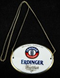 Erdinger Weissbier, Emaile Zapfhahnschild Tresenschild mit Goldkette