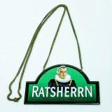 Ratsherrn Pilsener, Emaile Zapfhahnschild Tresenschild mit Goldkette