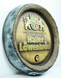 Haller Löwenbräu Bier, Faßboden Werbeschild in Echtholz Optik, braun