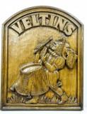Veltins Bier, Werbeschild, Reklameschild, Echtholzschild massiv